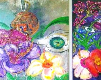 """Painting """"Sense The Flower Power"""" in acrylic paint"""