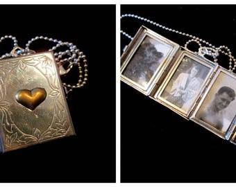 Mixed Metal Memories - Vintage 4 Picture Locket Necklace