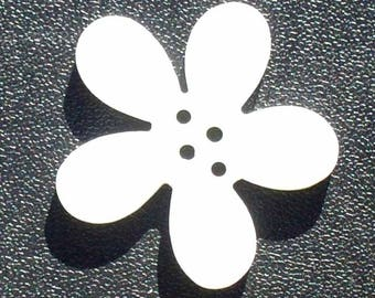 2 buttons 30mm white Orchid flowers