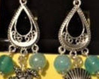 Silver Dangle Earrings with Sea Creatures