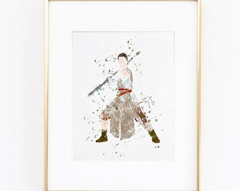 Star Wars Rey Watercolor Disney silhouette Fine Art Print, instant digital download high quality poster for wall  kids or nursery decor