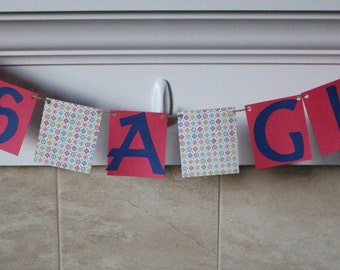 It's A Girl Banner / Pink & Navy / Flowers