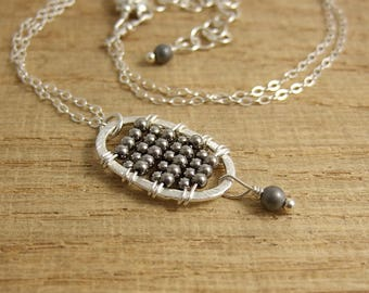 Necklace with Pendant of Brushed Sterling Silver Loop and Hematite Beads Wire Wrapped CDN-712
