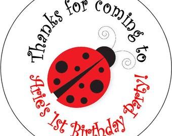 12 printed Ladybug Lady Bug   Birthday Party Stickers 2.5 inch Round Personalized kids