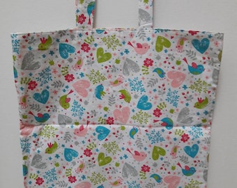 Tote bag pattern birds and hearts