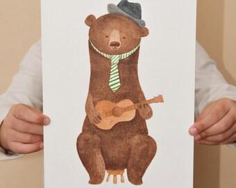 Bear illustration 29,8x17,9 cm // 7,04X11.739 inch - great christmas gif - Original artwork watercolor