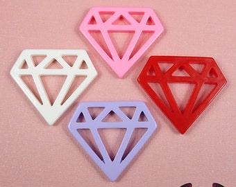 5pc DIAMONDS Flatback Resin Decoden Cabochons / Cellphone Deco 33x38mm