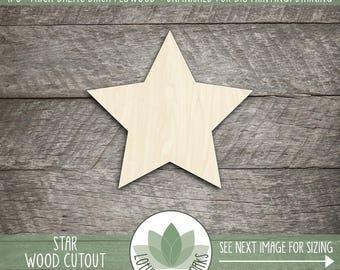 Wood Star Shape, Unfinished Wood star Laser Cut Shape, DIY Craft Supply, Many Size Options