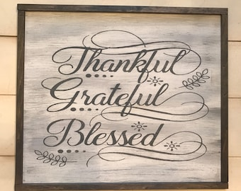 Thankful, Grateful, Blessed Wood Sign. Wood Fall Sign,