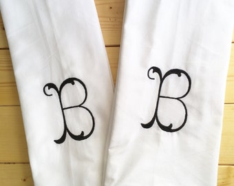 Monogram Kitchen Towel with pom pom trim / Monogram Dish Towel / Host Gift