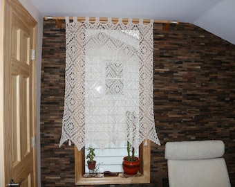 Crocheted ornate curtain. valance crocheted for window