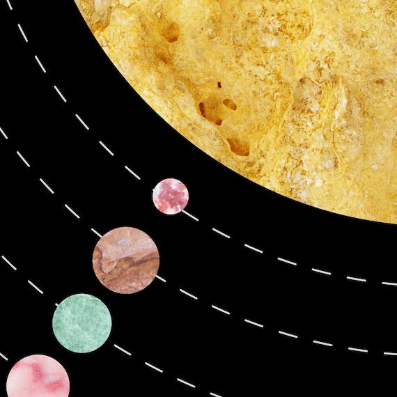 Solar System Poster Kids Space Art Planet Art New Apartment