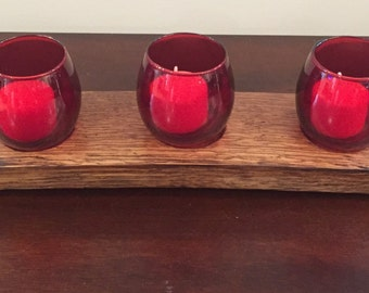 Whiskey Barrel Stave Candle Holder