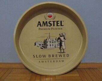 Large Vintage AMSTEL Metal Beer Serving Tray