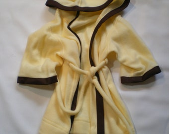 Hooded bath robe with attached sash
