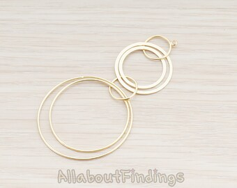 PDT580-MG // Matte Gold Plated Multi Circle Pendant, 2 Pc