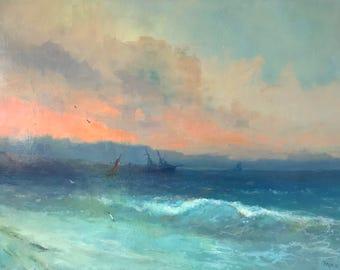Seascape, Original oil Painting, Unique Style, Museum Quality, Handmade artwork, Oil on Linen, Signed