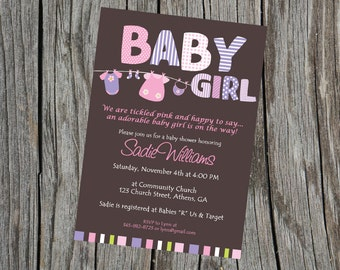 Baby Girl Invite. Baby Girl Shower Invitation.  Baby Shower Invitation. Baby Invite. Printable Baby Shower Invitation.