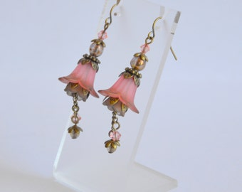 Peach bronze hand dyed lucite flower Swarovski crystal and pearl earrings, vintage style earrings, flower earrings, handmade earrings