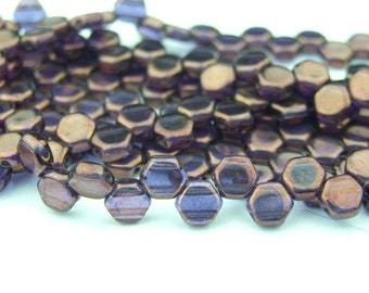30x Czech Honeycomb Beads 6mm Hexagonal 2 Hole Tanzanite Vega