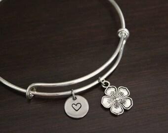 Flower Bangle Bracelet - Plant Lover Gift - Gardener Gift - Nature - Flower Lover - Botanist - Horticulture - Landscaper - I/B/H
