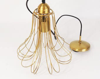 Brass Metal Wire Frame Swag Lamp