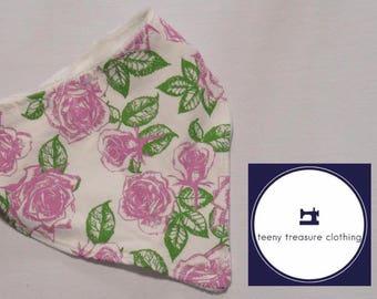 Pink Roses Floral Baby Bib