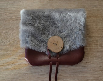 Leather wallet and sheep fur, viking, medieval