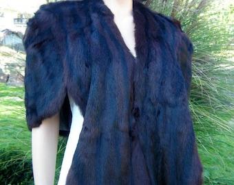 Marvelous Marmot Vintage Fur Stole Cape - Perlstein Furrier, Vintage Marmot Fur Shawl for Wedding or Holiday Fashion