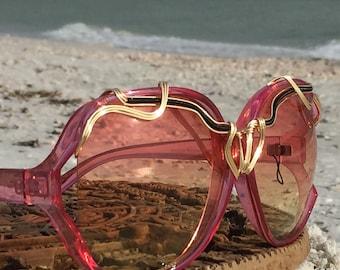 Oversized Sunglasses, Pink Yellow Bold Sunglasses Women / SPUNGLASSES / Gold Black Artisan Wire Wrapped sunglasses eyewear eyeglasses NEW