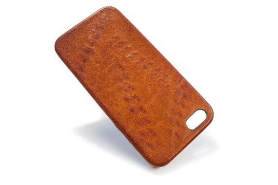 Iphone Italian Vegetable Tanned Leather Case Washed Aged for 6S and PLUS or 4/4s or 5/5s to use as protection col BRANDY