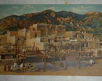 Taos Native American Indian Pueblo, New Mexico Vintage Linen Postcard UNUSED