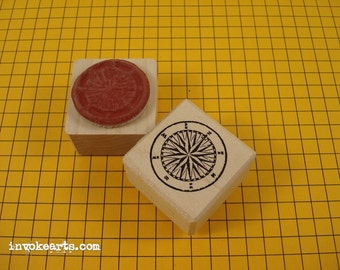 Small Compass Stamp/ Invoke Arts Collage Rubber Stamps