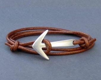 Anchor Mens Leather Bracelet Mens wrap Cuff Bracelet Hook Braceletr Adjustable Black, Silver, Gold, Bronze