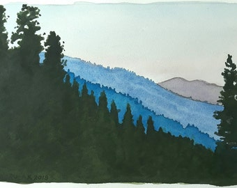 Yosemite Vista original watercolor New!