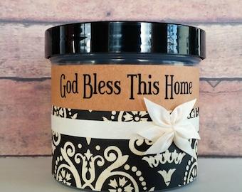 Christian Bible Gift, God Bless This Home, Scripture Jar, Christian Housewarming Gift, Hostess Gift, Wedding Gift, Engagement, Ivory Damask