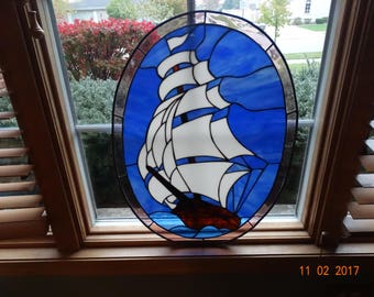 Stained glass sailing ship