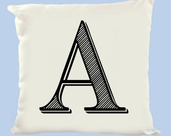 Personalised Letter Cushion Cover, Gift, Homeware, 40x40, Polyester, White, Throw Pillow