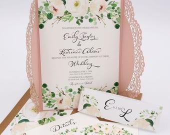Laser Cut Wedding Invitations - Blush - Wedding Invitations - Greenery Collection Deposit