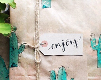 Pack of 4 Hand Lettered Kraft Gift Tags- Enjoy- Strung Labels for Gift Wrap- Birthday Gift