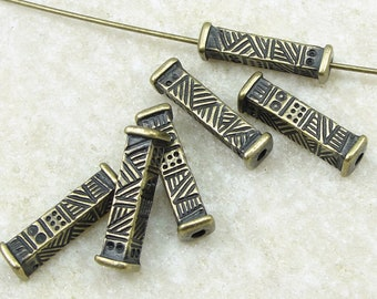 15mm Long Rectangular Tube Barrel Bead - TierraCast Ethnic Long Beads Bronze Antique Brass Beads for Jewelry Making 6 or more pieces (P2478)