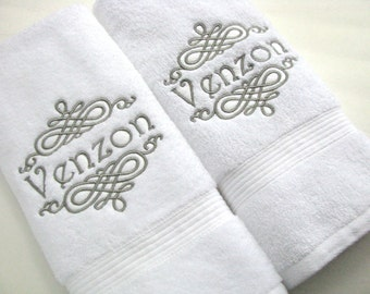 YOU PICK Thread Color, towel, bathroom, personalized gift, embroidered  towels, bathroom