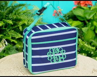 Navy and Mint Stripe Lunch Box - Middle School Teen Lunch - Presley Prep Stripe Lunch Cooler - Lunch Bag - Lunch Tote - Snack Tote