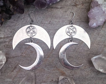Moon - Pentagram - Earrings - Silver - Goth - Jewelry - Witchy - Gothic - Gift - Dramatic - Long - Jewelry - Occult - Crescent