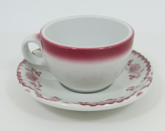 Shenango Chardon Cup and Saucer Set, Rim Rol Wel Roc Vintage Restaurant Ware China, Red Maroon Floral Rose Scallop, Red & White Transferware