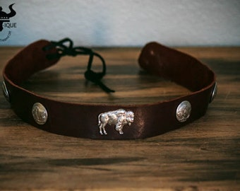Big Buffalo Leather Hatband