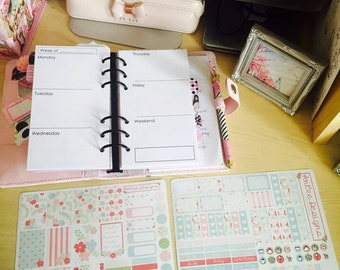 Planner Insert Sticker Kit (Personal- Horizontal)- Filofax, Kikki. K and other personal planners.