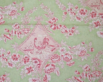Rooster Audrey Green Braemore Fabric Printed Decorative Home Decor
