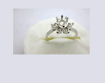 4mm- 5mm Round 7-Stone Cluster Pre-Notched Solid Sterling Silver Ring Setting Sz 5-7