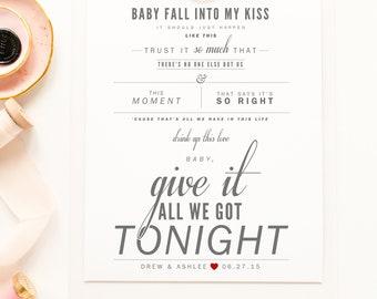 "George Strait ""Give It All We Got Tonight"" - Grey & Blush - Valentine's, Wedding Gift, Paper Anniversary, Song Lyrics, Art Print"